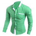 Contrast Collar Breast Pocket Button-Down Shirt - APPLE GREEN