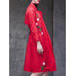 Floral Embroidered Side Slit Trench Coat for sale