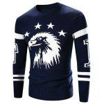 Crew Neck Eagle Pattern Varsity Stripe Long Sleeve Sweater - CADETBLUE