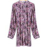 Tiny Floral Belted Vintage Shirt-Kleid - VIOLETT