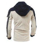 Multi Pockets Design Color Block Hooded Jacket deal