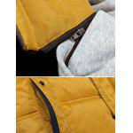 Zip-Up Contrast Sleeve Hooded Quilted Jacket - EARTHY