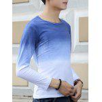 cheap Round Neck Long Sleeve Ombre T-Shirt
