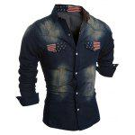 cheap Pockets Front American Flag Denim Long Sleeve Shirt