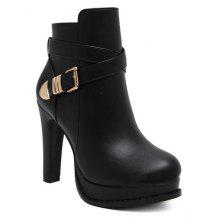 Chunky Heel Platform Buckle Strap Ankle Boots