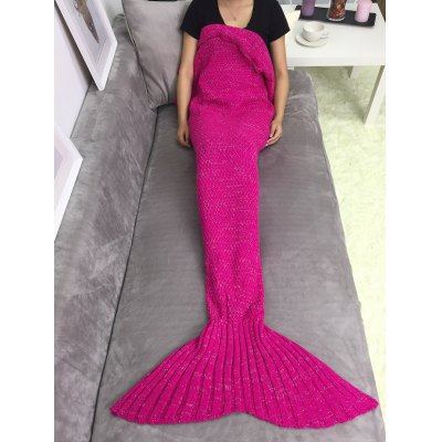 Buy ROSE RED Super Soft Sleeping Bag Mermaid Knitted Blanket for $10.40 in GearBest store