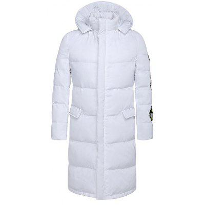 Hooded Lengthen Thicken Floral Embroidered Cotton-Padded Coat