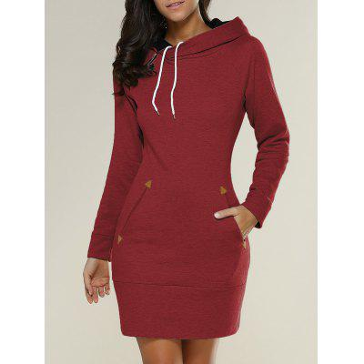 Tight Short Long Sleeve Long Hoodie Mini Dress