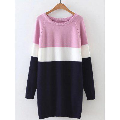 Long Sleeve Color Block Mini Sweater Dress