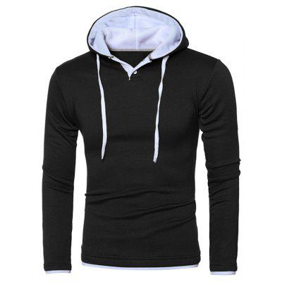 Hooded Color Splicing Long Sleeve Hoodie