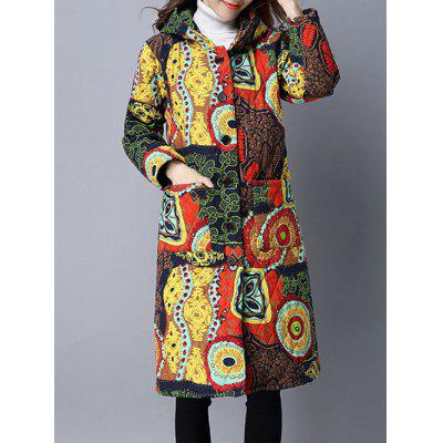 Pockets Ethnic Print Hooded Padded Coat
