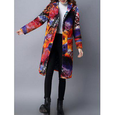 Vintage Print Hooded Padded Coat