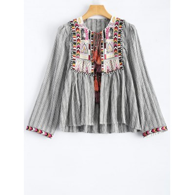 Round Neck Striped Embroidered Jacket