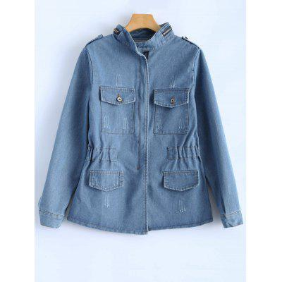 Elastic Waist Bleach Wash Jean Jacket