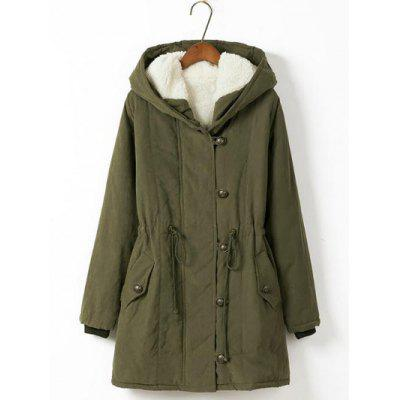 Plus Size Hooded Drawstring Long Parka Coat