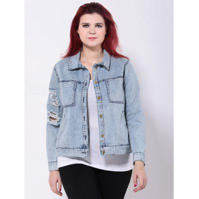 Broken Hole Double Pockets Jean Jacket