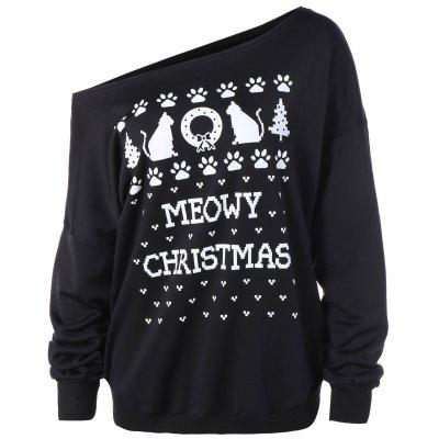 Plus Size Meowy Christmas Graphic Sweatshirt