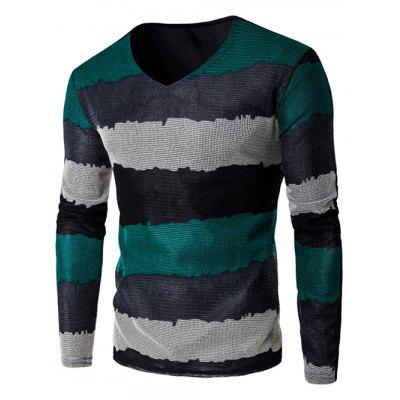V Neck Long Sleeve Striped T Shirt