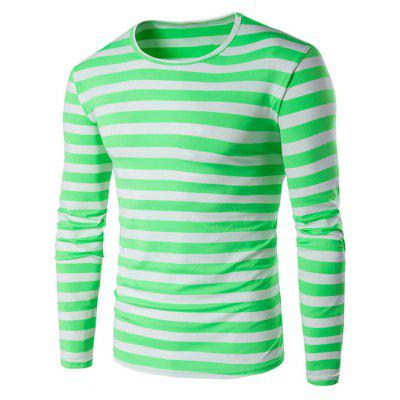 Green Striped Long Sleeve T Shirt