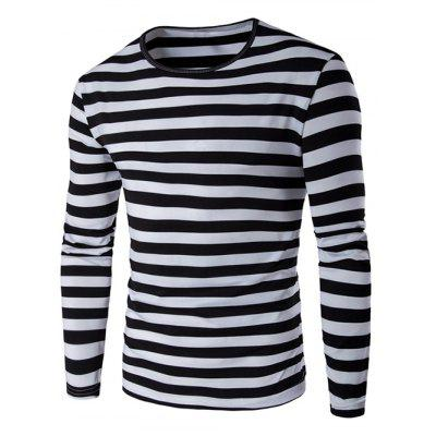 Buy BLACK Striped Long Sleeve T Shirt for $6.88 in GearBest store