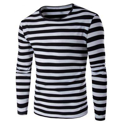 Buy BLACK Striped Long Sleeve T Shirt for $13.44 in GearBest store
