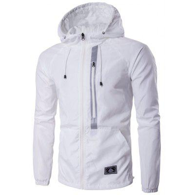 Hooded Drawstring Design Zip-Up Jacket