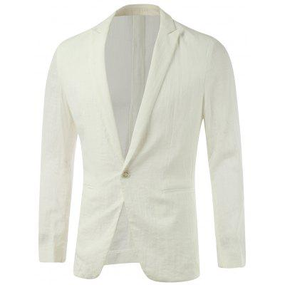 Peak Lapel Pocket Design Plain One-Button Blazer