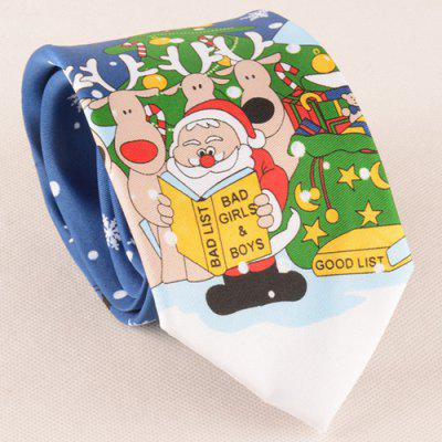 Santa Claus Reading Book Christmas Tie