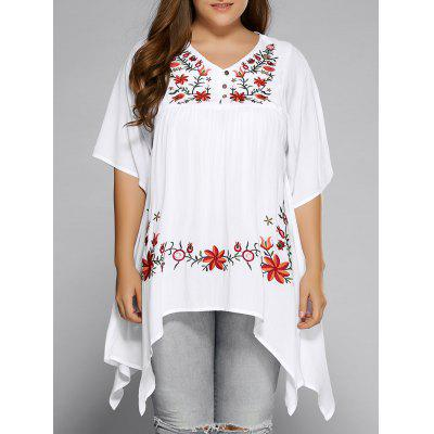 Plus Size Asymmetric Hem Floral Embroidered Top