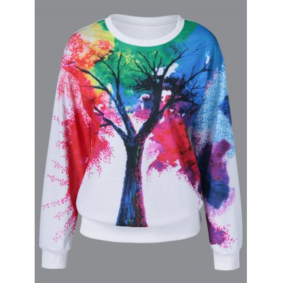 Tie-Dye Tree Pattern Sweatshirt