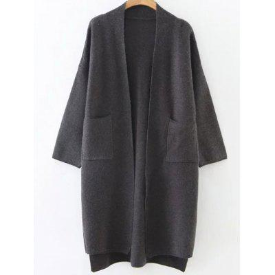 High Low Collarless Pockets Cardigan