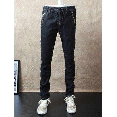 Slim-Fit Zipper Pocket Drawstring Waist Jeans