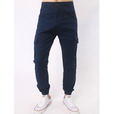 Multi Pocket Zipper Fly Beam Feet Jogger Pants