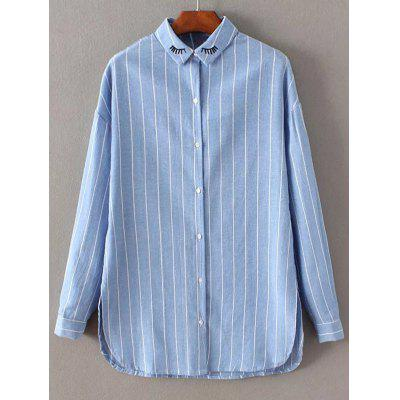 Long Sleeve Embroidered Striped Shirt