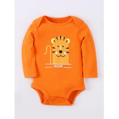 Kids Long Sleeve Cartoon Tiger Baby Romper