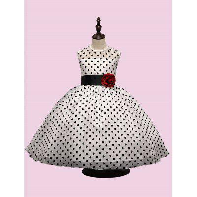 Belted Polka Dot Ankle-Length Dress