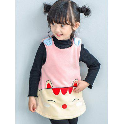 Kids Sleeveless Cartoon Cat Mini Dress