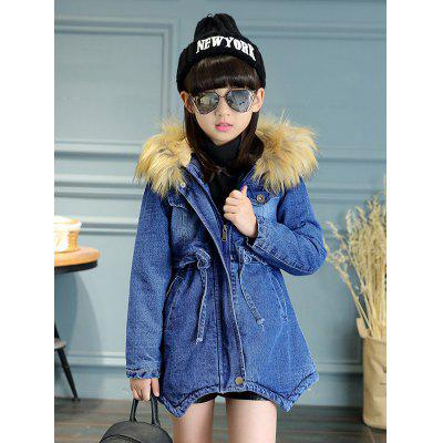 Zip Up spessa incappucciata denim cappotto