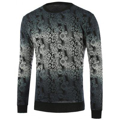 Ombre Abstract Pattern Crew Neck Knitwear