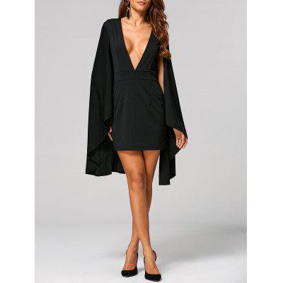 Plunge Neck Cape Braless Dress