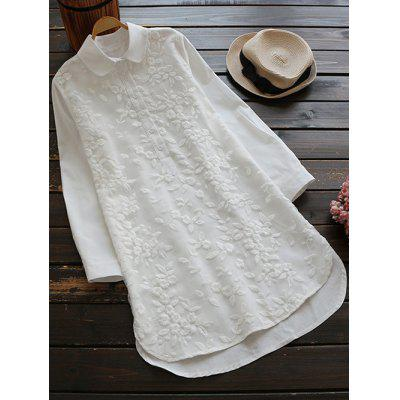 Long Buttoned Floral Embroidered Linen Shirt