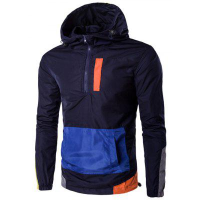 Hooded Plus Size Half-Zip Color Block Spliced Jacket