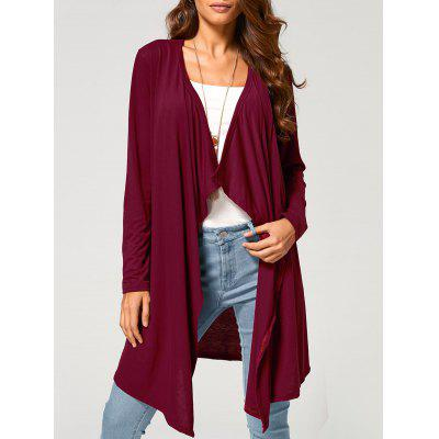 Wine red Long Duster Draped Cardigan M-$14.67 Online Shopping ...