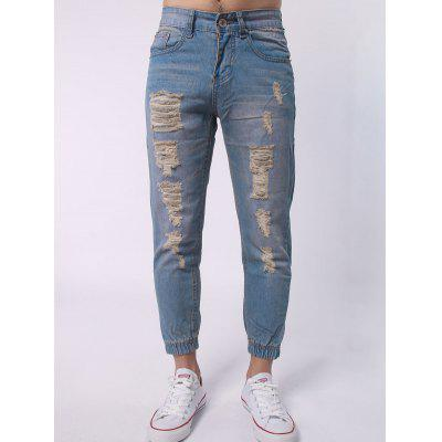 Zipper Fly Distressed Jean Joggers
