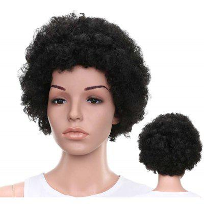 Buy BLACK BROWN Short Fluffy Afro Curly Capless Full Bang Synthetic Wig for $18.47 in GearBest store