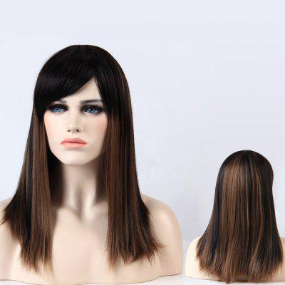 Buy BLACK AND BROWN Adiors Full Bang Long Silky Straight Highlight Synthetic Wig for $17.53 in GearBest store