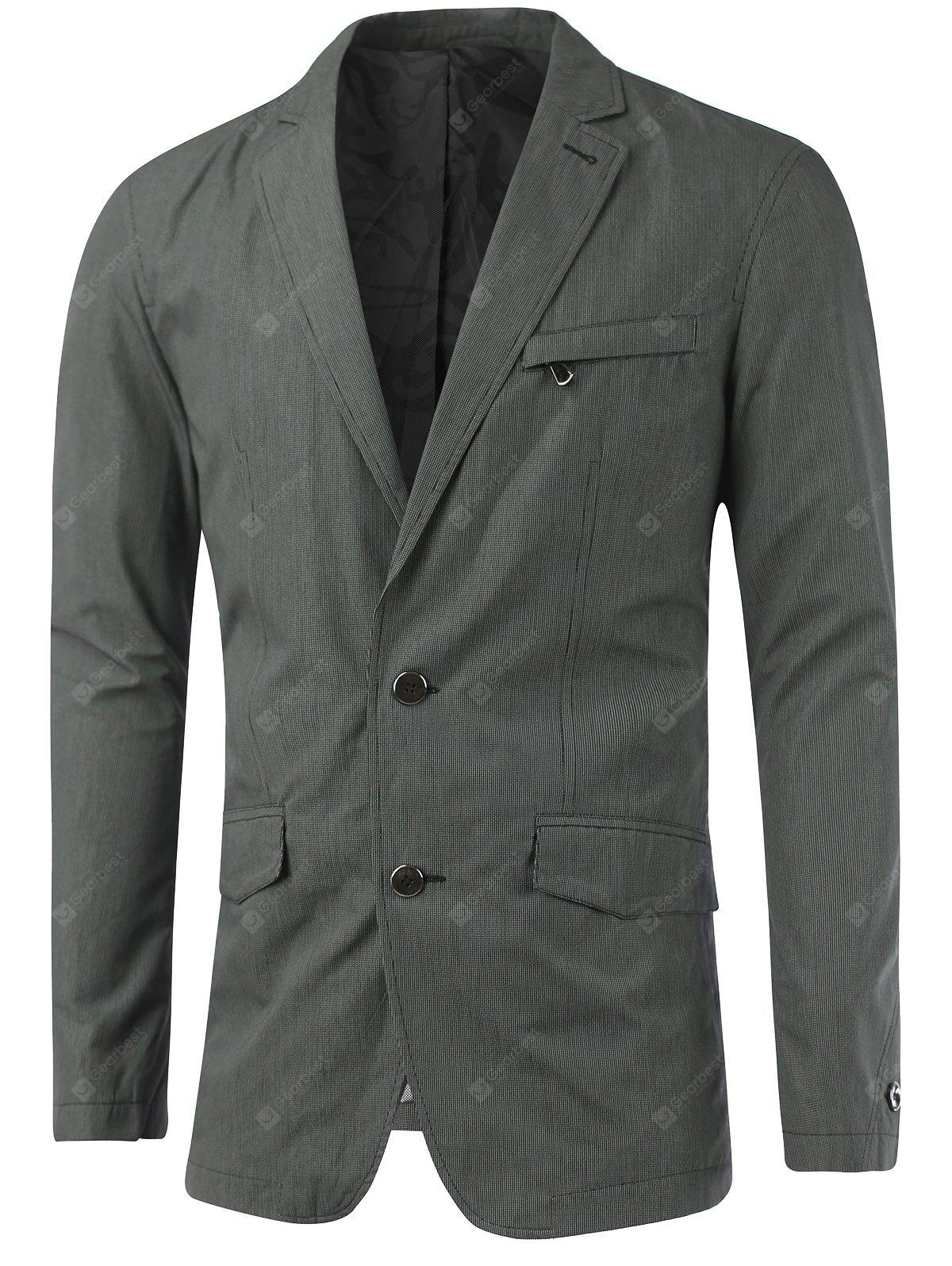 Zip Pocket asole Notch risvolto Texture Blazer