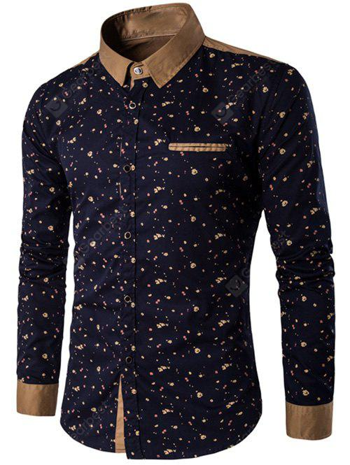 Floral Printed Contrast Insert Button Up Shirt