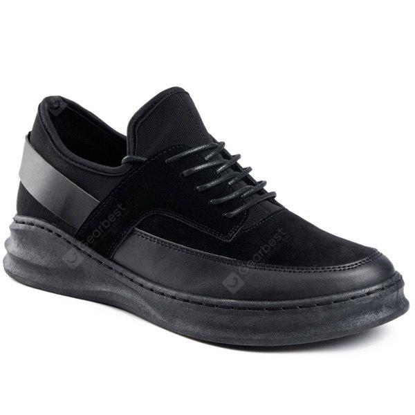 BLACK PU Leather Tie Up Casual Shoes