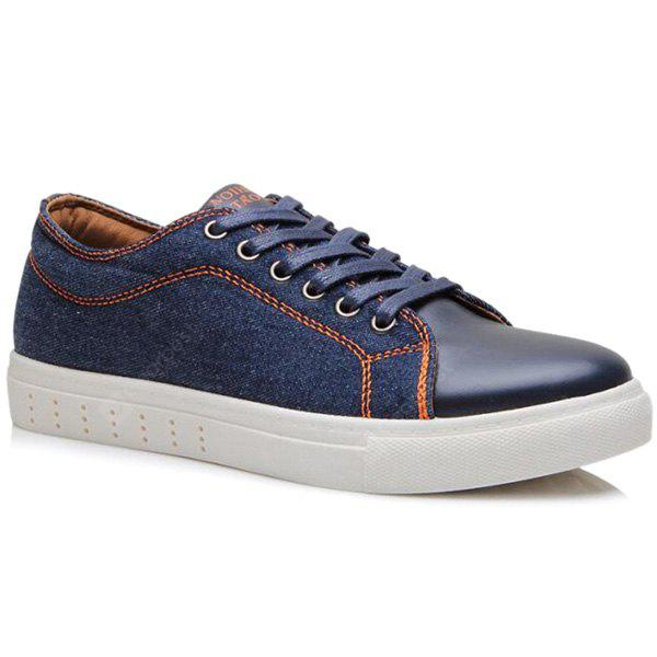 DEEP BLUE Denim Splicing Lace-Up Casual Shoes